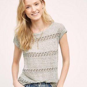 Akemi + Kin Gray Linen Crochet Stripe Top